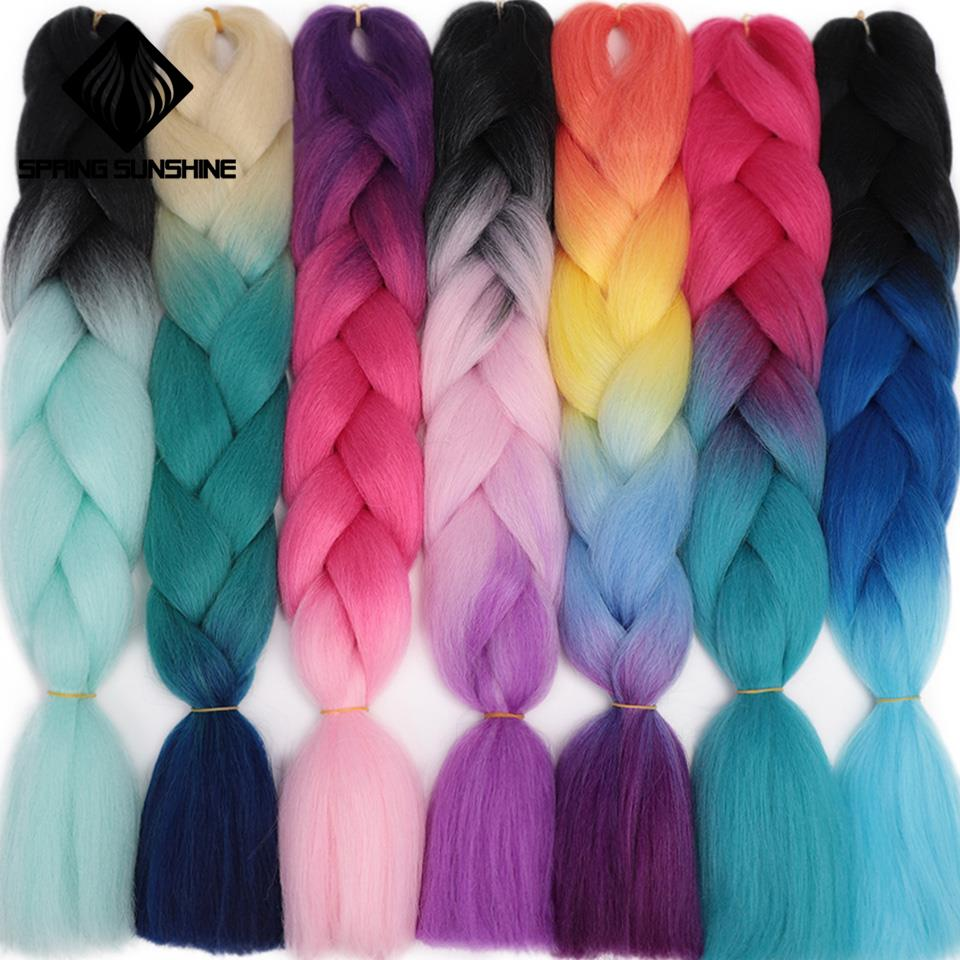 Spring Sunshine 24'' Long Strands Ombre Jumbo Synthetic Braiding Hair Crochet Hair Extensions Jumbo Braids Hairs