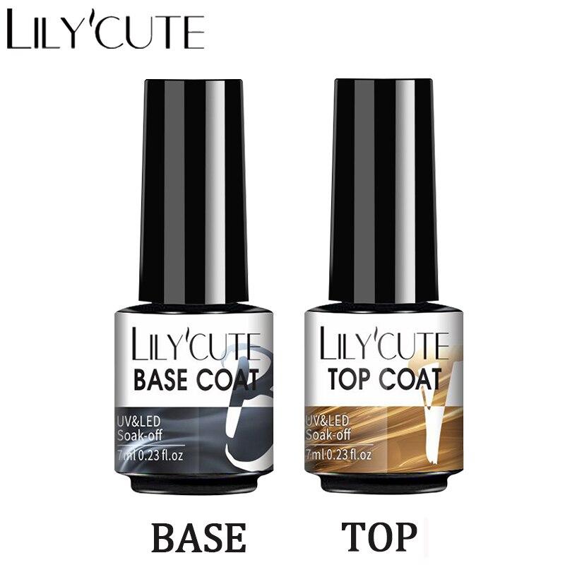LILYCUTE 7 мл основа верхнее покрытием гелем! Полупостоянная гель для ногтей, био-Гели Soak Off не протирать лаки для ногтей УФ Гель-лак для ногтей