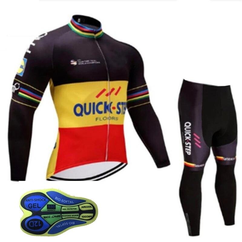 Spor ve Eğlence'ten Bisiklet Takımları'de 2020 hızlı adım yeni erkek uzun kollu forması takım üniforma giyim forması sürme MTB Pro team bisiklet takım elbise 16D önlük? title=