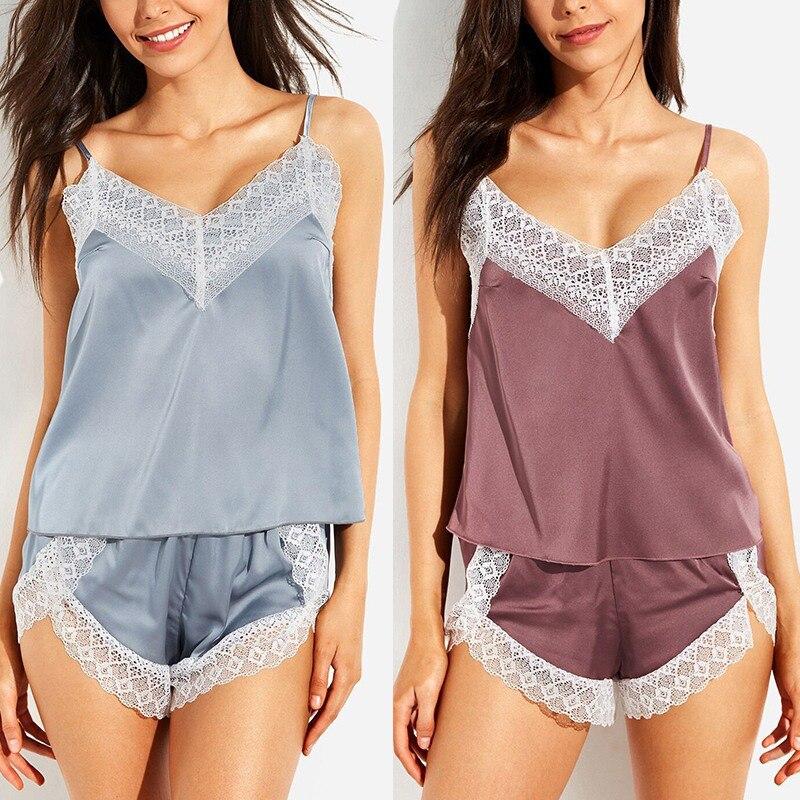 Women's Sleepwear Sexy Satin Set Lace V-Neck Pyjamas Sleeveless Cute Cami Top and Shorts pijama mujer algodon veran