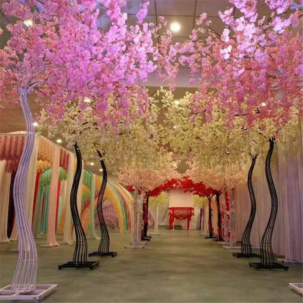 Partij decoratie 2.6M hoge witte kleur kersenboom metalen road leidt tot wedding runner gangpad kolom mall deur decoratie frame