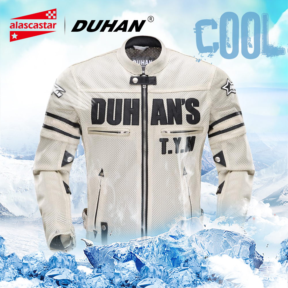 DUHAN Summer Motorcycle Jacket Men Breathable Mesh Riding Moto Jacket Motorcycle Body Armor Protector Moto Cross Clothing