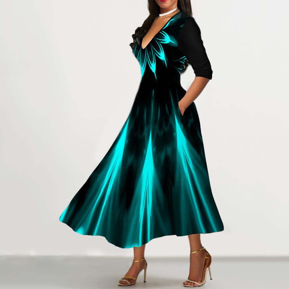 Half Sleeve V Neck Vintage A Line Printing Women Maxi Dress Standard-Waist Dress 2019 Autumn Dress Evening Party Beach Dress