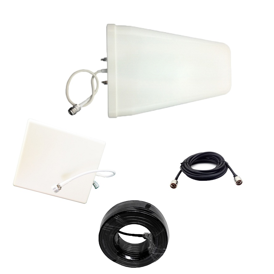 15 Meters Cable + Antenna Full Set Accessories for 2G 3G 4G GSM <font><b>850</b></font> 900 1800 3G <font><b>2100</b></font> 2600 MHz Mobile Signal Repeater Booster image