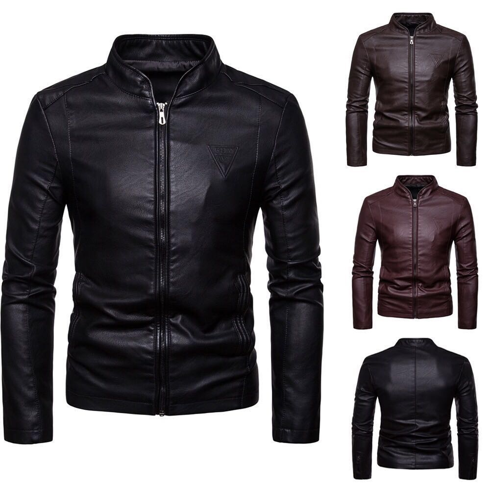 Mens Jackets And Coats New 2020 Men's Fashionable Stand-up Collar Slimming Motorcycle Zipper Men's Leather Jacket