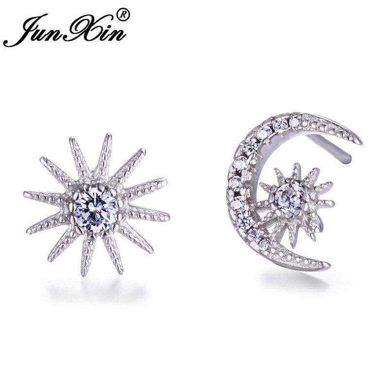 White Gold Filled Earrings Cute Sun Moon Stud Earrings For Women White Crystal Stone Double Earrings Wedding Jewelry CZ