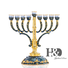 H&D 9 Branches Candle Holder Hand Painted Enamel Menorah Candelabra Embellished with Gold Accent Candlesticks Home Wedding Decor
