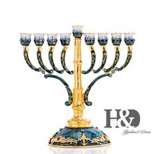 H & D 9 סניפים נר בעל יד צבוע אמייל חנוכייה מנורת קשט עם זהב אקסנט פמוטים בית חתונת דקור