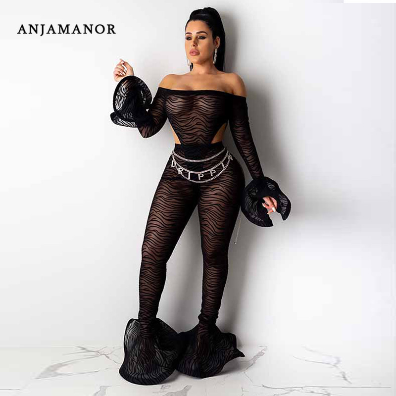 ANJAMANOR 2 Piece Set Women Mesh Sheer Off Shoulder Bodysuit Leggings Bell Bottoms Matching Sets Sexy Club Outfits D37-AF58