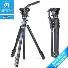 Profissional tripé de vídeo resistente rápido flip lock panorâmica fluido cabeça com meia bola tigela para câmera digital dslr filmadora