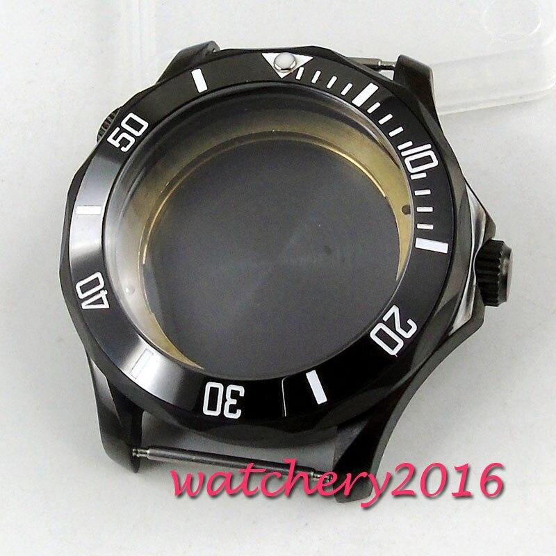 Caixa de Relógio Apto para Miyota Revestido Preto Ceremic Moldura 8215 Movimento Automático 41mm Pvd