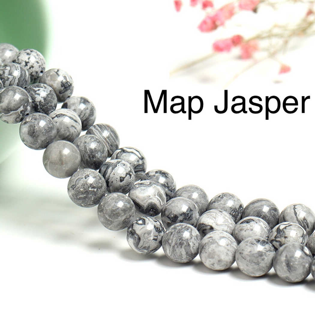 Natural Map Jasper Stone  4-12mm round Gemstone beads  for 925 sterling silver Jewelry Making  Necklace Bracelet 15inch ICNWAY