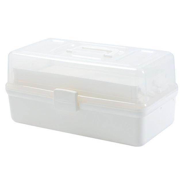 Portable Empty First Aid Box Clear 2-Tray Plastic Medication Storage Box for Home with Divider Inserts and Handle White