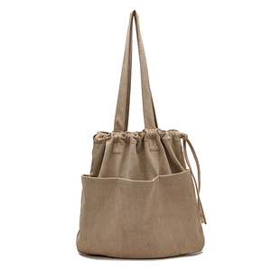 Image 2 - 2020 Winter New Korean Suede Drawstring Tote Bag Casual Women Handbags Middle Ladies Shoulder Bag Young Shopping Bag Whole Sale