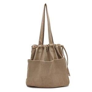Image 2 - 2020 kış yeni kore süet ipli büyük el çantası Casual kadın çanta orta bayanlar omuzdan askili çanta genç alışveriş çantası toptan