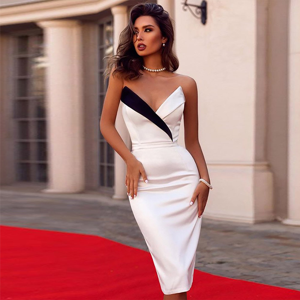 Ocstrade Summer New Arrival 2019 Sexy Bodycon White Bandage Dress Women Strapless Bandage Midi Dress Celebrity Party Club Dress-in Dresses from Women's Clothing    1