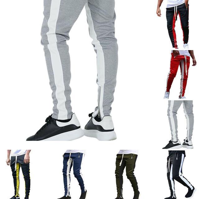 Otoño e Invierno de los hombres pantalones de chándal para correr cremallera ajustado para hombres apretado Fitness transpirable pantalones de entrenamiento de gimnasia ropa 1
