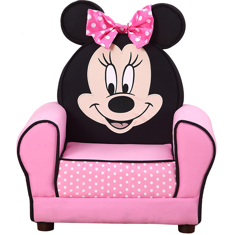 European Standard Quality Wooden Frame Small Children Sofa Lovely Minnie Pink Kids Sofa Chair Baby Furniture Zitzak Bean Bag