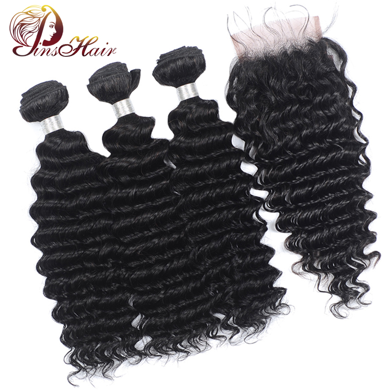 Peruvian Hair Deep Wave Bundles With Closure Non-Remy Human Hair Weave 3 Bundles With Lace Closure Pre Plucked With Baby Hair