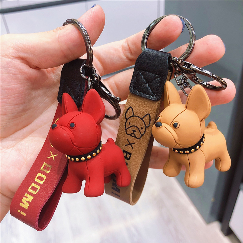 Fashion French Punk Bulldog Keychain PU Leather Dog Keychains For Women Bag Charm Trinket Men Car Key Ring Key Chain Jewelry