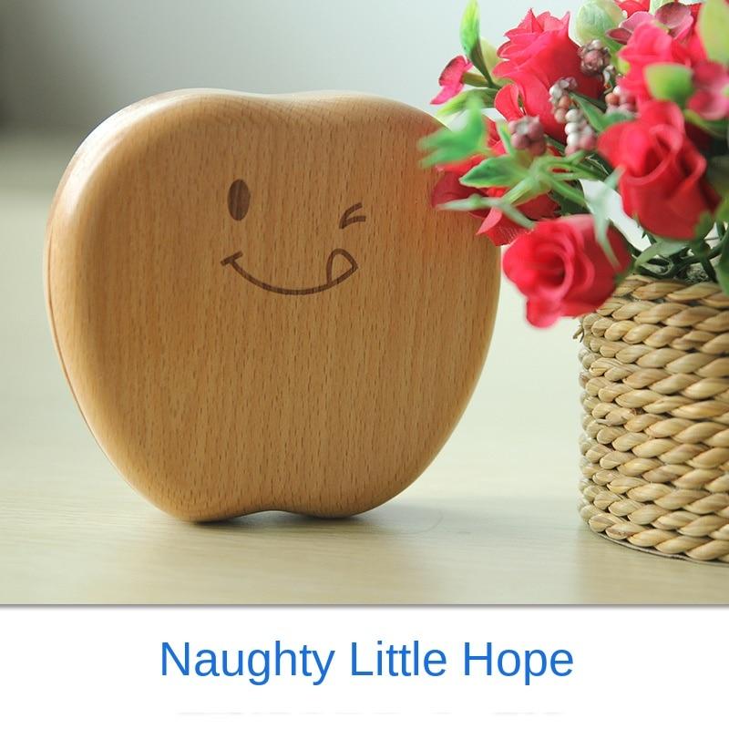 Children's wooden baby tooth box baby teeth collection tooth fairy box wooden tooth box baby birthday gift happy little apple