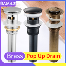 Sink Drain Brass Bathroom Wash Basin Pop Up Drain with Overflow Hole Deodorant Sink Waste Drainer Faucet Water Drain Accessories shivers drain retro antique brass push down pop up drain no overflow 5712 floor drain bathroom kitchen basin sink bath drain