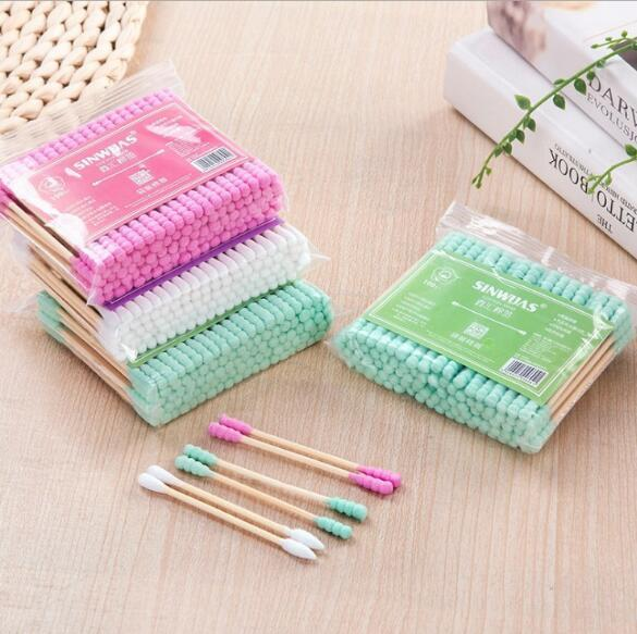 100pcs / pack double head cotton bud for women makeup Cotton tip for wooden medical sticks nose ears cleaning health care tools 3
