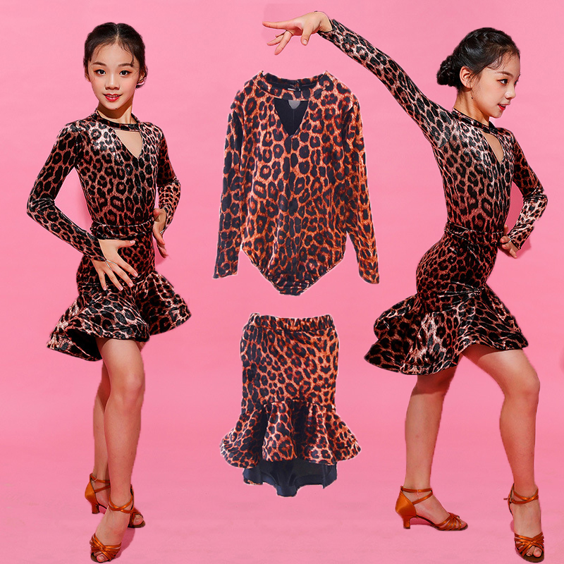 Girls Latin Dresses For Dancing Ballroom Dance Dress Rumba Samba Leopard Print Children Samba Cha Cha Tango Skirt Standard Salsa