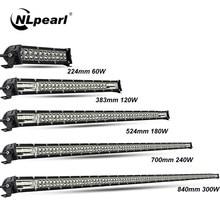 Nlpérl barra ultrafina de led, 60w 120w 180w 240w para trator 4x4 uaz offroad 4wd luz extra de led para caminhão atv, barra de luz do carro