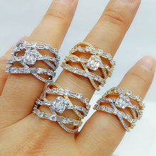 GODKI Luxury Baguette CZ Cross Flower Bold Rings with Zirconia Stones 2020 Women Engagement Party Jewelry High Quality