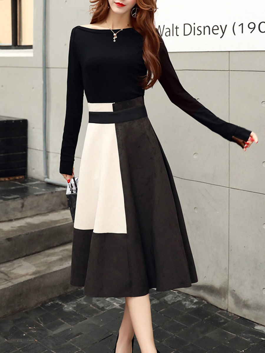 New summer and autumn whistle skating dress female, round neck zipper, elegant casual ladies ruffled dress with color fashion co