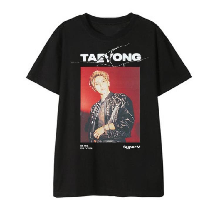 Kpop superM mitglied name/foto druck o hals kurzarm t hemd sommer stil k-pop unisex schwarz t-shirt