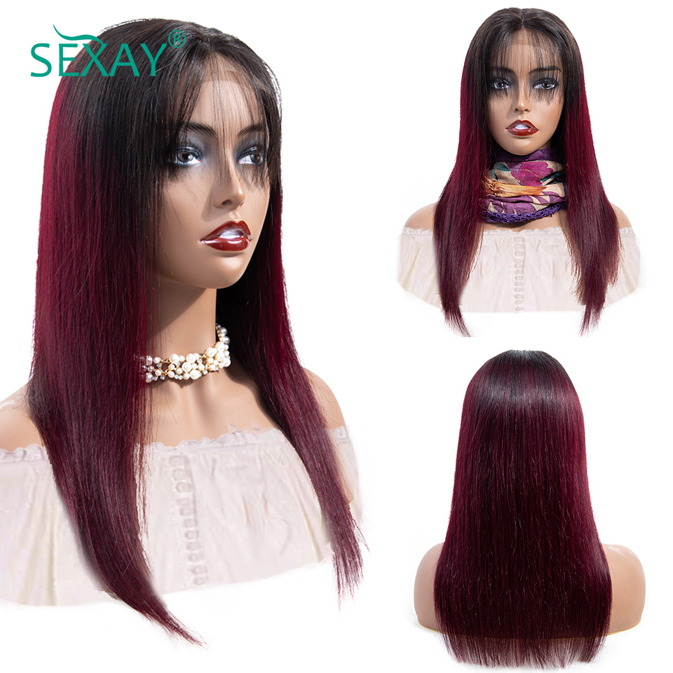 sexay ombre lace front human hair wigs lace closure wig