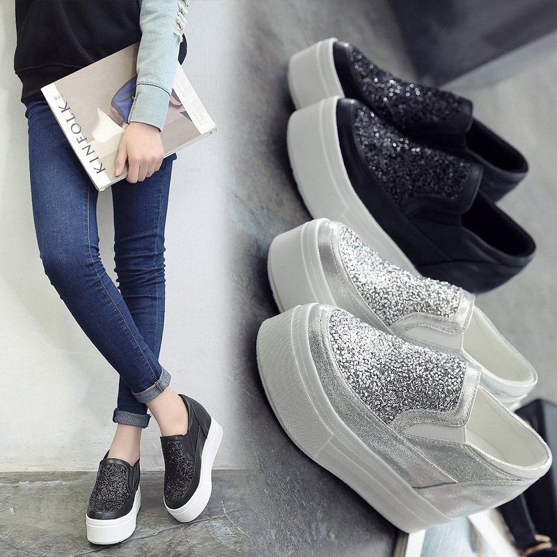 Tleni Korean Version Of The Wild Sequined Sneakers Women's Thick Bottom 10cm Increased Women's Shoes A Pedal Lazy Sneakers ZD-14