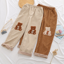 Harajuku Vintage Women Corduroy Pants Cute Cartoon Bear Embroidery Plaid Casual Trousers Winter Teen Girls Kawaii Straight Pants