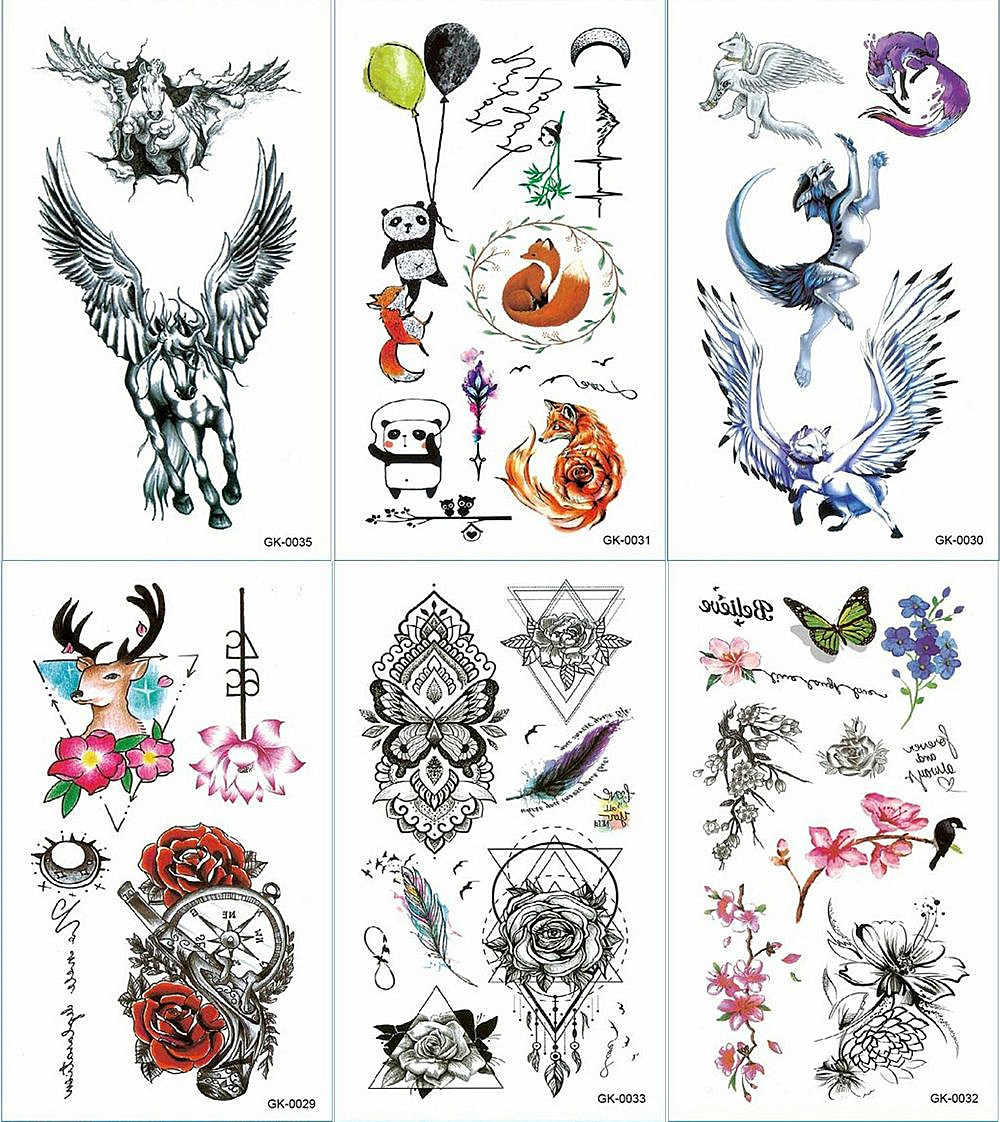 Watercolor Flower Floral Temporary Tattoos Sticker Wolf Drawing with Wings Body Art Arm Fake Panda Tatoo for Kids Flash Tatto