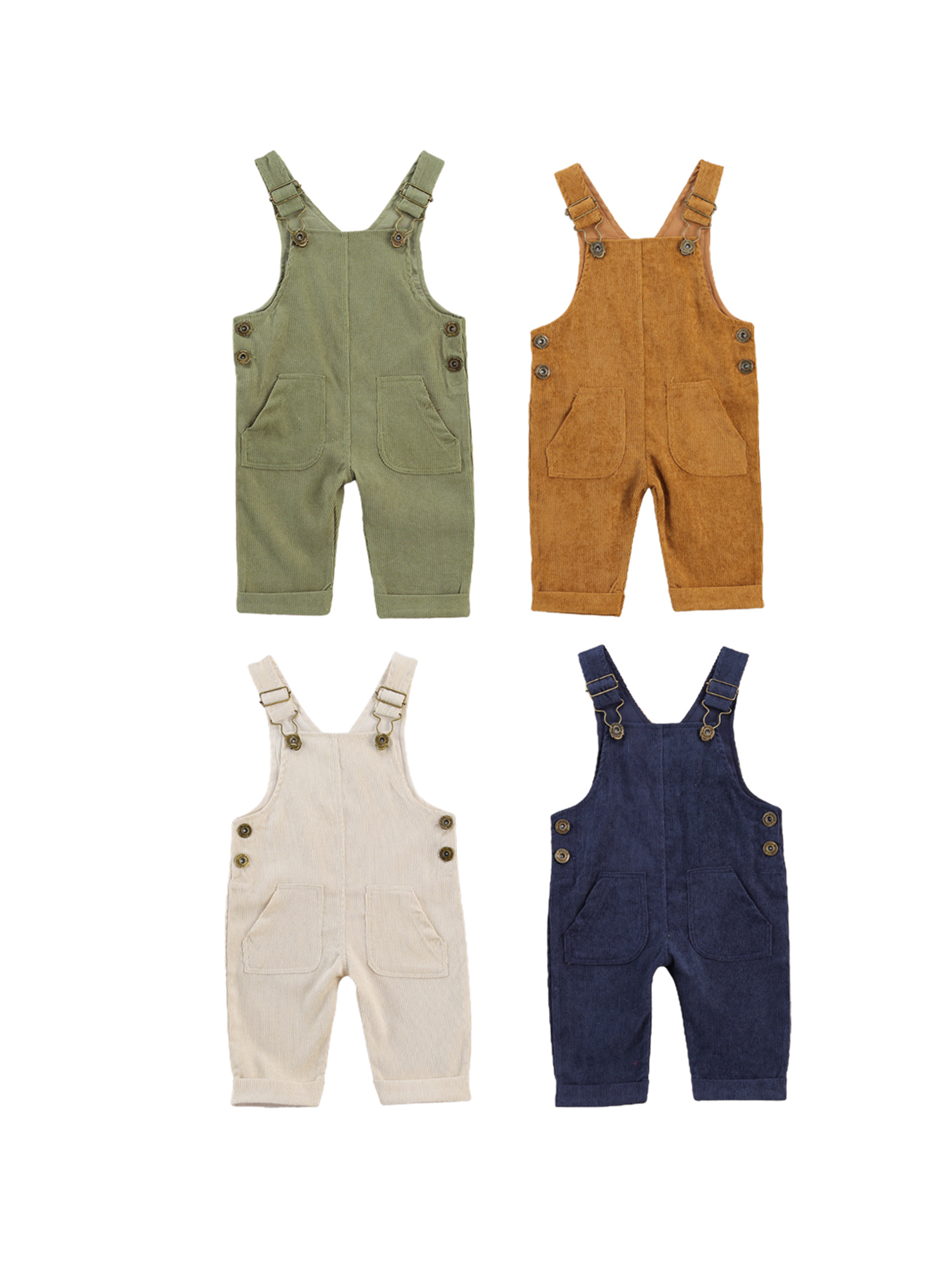 Baby Boys Suspender Pants with Buttons Loose Fit Solid Color Suspender Trousers Pockets Toddler Girl Adjustable Buckle Outfit