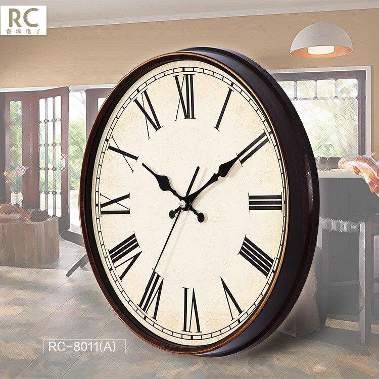European Retro Wall Clock Metal Shabby Chic Clock Mechanism Watch Home Hanging Clocks Living Room Bedroom Silent Saat Gift FZ490