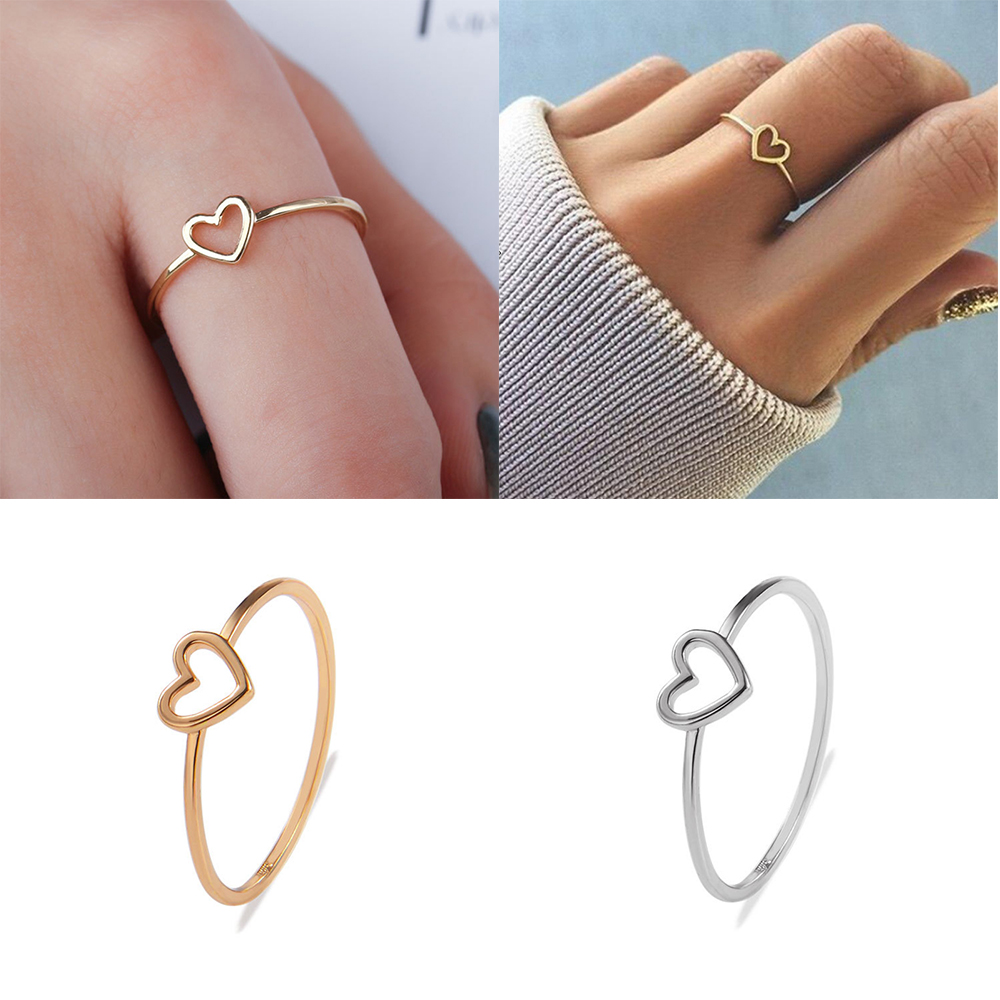 Wedding-Ring Rose-Gold Heart-Shaped Copper Minimalist Silver-Color Best-Friend Woman