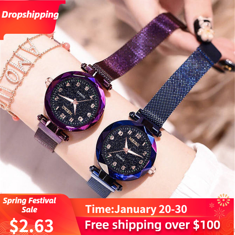 Luxury Watch Women Fashion Starry Sky Flat Glass Quartz Mesh With Magnetic Buckle Lady Wrist Watch Dress Gift Relogio Masculino