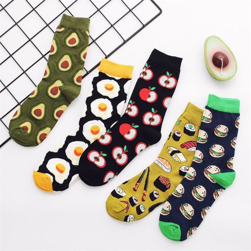 1 Pair Of Hot Avocado Tide Socks Cotton Tube Men And Women Socks Pouch Egg Socks Europe And The United States Popular Socks