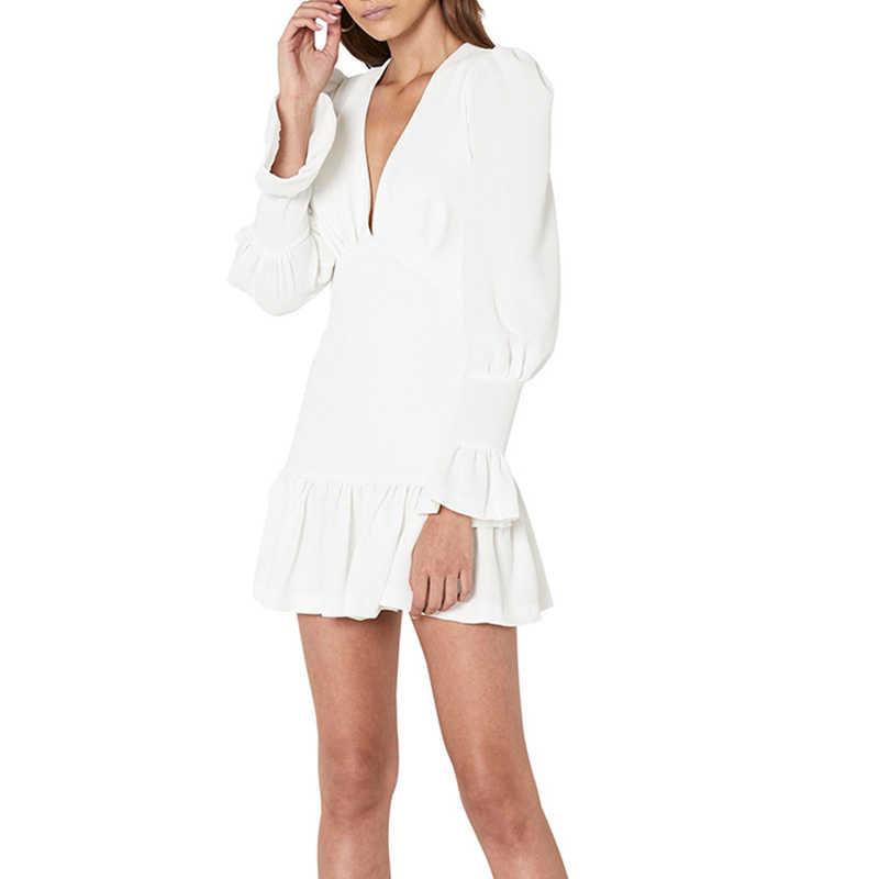 TWOTWINSTYLE элегантное тонкое женское платье с v-образным вырезом и рукавами-фонариками, с высокой талией, с оборками, мини платья, женские повседневные весенние 2019 Новые