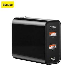 """Image 1 - Baseus 60W Usb מטען USB סוג C מהיר מטען להקה כפולה Usb חריץ בארה""""ב מתאם טלפון טעינה נסיעות מטען קיר עם 1M"""
