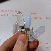 1PC pendentif naturel minéral ornement blanc cristal Points Couple collier pendentifs pour bricolage cadeau bijoux sans fil de ficelle