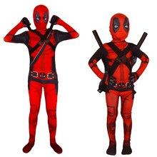Halloween vacances pour enfant adulte enfants Deadpool Costume masque Cosplay Costume garçon une pièce le kit complet body Party Dres Up