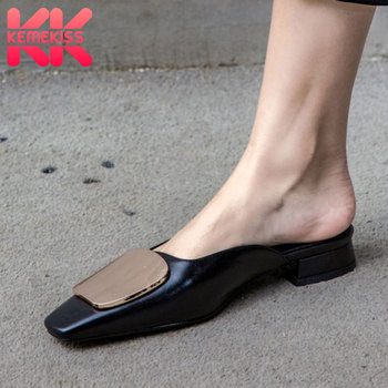 KemeKiss Women Sandals Shoes Fashion Square Toe Slippers Good Genuine Leather Shoes Women Metal Button Lady Footwear Size 33-40