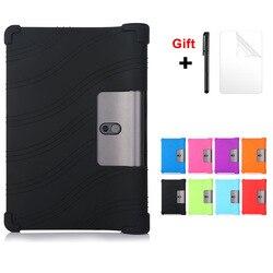 Silicone macio caso para lenovo yoga inteligente tab YT-X705F 2019 suporte capa para lenovo yoga tab 5 10.1 polegada crianças caso seguro + filme caneta