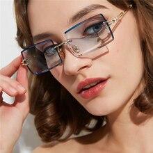 Fashion Rimless Sunglasses Women Trendy Small Rectangle Sun