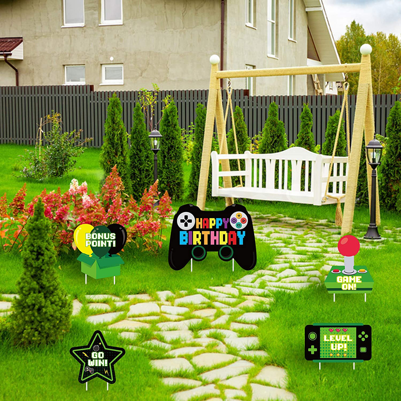 5Pcs Video Game Birthday Yard Sign Remote Control Colorful Outdoor Lawn Mark with Stakes Gaming Theme Decoration for Boys Girls