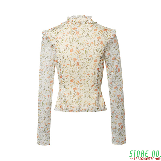 Casual Print Women Shirts O Neck Long Sleeve Patchwork Ruffles Hit Color Lace Up Bow Hollow Out Blouses Female Tide 2